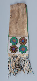 American Indian Art:Beadwork and Quillwork, A Plains Cree Beaded Hide Tobacco Bag. c. 1900...