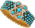 Estate Jewelry:Bracelets, Victorian Diamond, Turquoise, Gold Bracelet, Samuel Arndt, French. ...