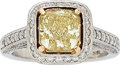 Estate Jewelry:Rings, Fancy Light Yellow Diamond, Diamond, Platinum, Gold Ring. ...