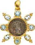 Estate Jewelry:Pendants and Lockets, Ancient Coin, Aquamarine, Gold Pendant-Brooch, Elizabeth Locke. ...