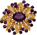 Estate Jewelry:Brooches - Pins, Amethyst, Diamond, Gold Brooch, Karbra. ...