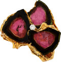 Estate Jewelry:Rings, Tourmaline, Diamond, Gold Two-Finger Ring. ...