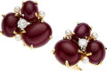Estate Jewelry:Earrings, Ruby, Diamond, Gold Earrings, Seaman Schepps. ... (Total: 2 Items)