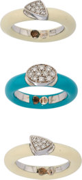 Estate Jewelry:Rings, Diamond, Enamel, White Gold, Sterling Silver Rings. ... (Total: 3Items)