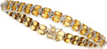 Estate Jewelry:Bracelets, Yellow Sapphire, Diamond, White Gold Bracelet. ...