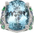 Estate Jewelry:Rings, Aquamarine, Diamond, Sapphire, Tsavorite Garnet, White Gold Ring,Badgley Mischka . ...