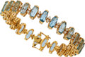 Estate Jewelry:Bracelets, Aquamarine, Diamond, Gold Bracelet. ...