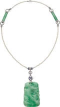 Estate Jewelry:Necklaces, Jadeite Jade, Diamond, Sapphire, Seed Pearl, Platinum, White Gold Pendant-Necklace. ... (Total: 3 Items)