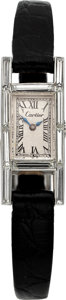 Estate Jewelry:Watches, Cartier Lady's Diamond, Platinum Watch. ...