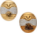 Estate Jewelry:Earrings, Diamond, Gold Earrings. . ... (Total: 2 Pieces)