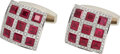 Estate Jewelry:Cufflinks, Ruby, Diamond, Gold Cuff Links. . ... (Total: 2 Items)