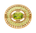 Estate Jewelry:Brooches - Pins, Peridot, Plique-à-Jour Enamel, Gold Brooch, Tiffany & Co.. ....
