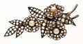 Estate Jewelry:Brooches - Pins, Antique Pearl, Diamond, Silver-Topped Gold Brooch. . ...