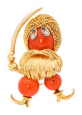 Estate Jewelry:Brooches - Pins, Coral, Diamond, Sapphire, Gold Brooch. ...