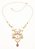 Estate Jewelry:Necklaces, Amethyst, Seed Pearl, Gold Necklace. . ...