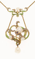 Estate Jewelry:Necklaces, Art Nouveau Freshwater Pearl, Seed Pearl, Enamel, Gold Necklace....
