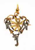 Estate Jewelry:Brooches - Pins, Victorian Diamond, Silver-Topped Gold Pendant-Brooch. . ...