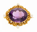 Estate Jewelry:Brooches - Pins, Victorian Amethyst, Seed Pearl, Gold Enhancer-Brooch. ...