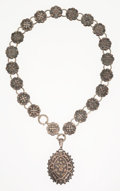 Estate Jewelry:Necklaces, Georgian Gold, Silver Locket-Necklace, English. . ...
