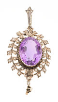 Estate Jewelry:Pendants and Lockets, Victorian Amethyst, Seed Pearl, Silver Pendant. ...