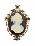 Estate Jewelry:Brooches - Pins, Victorian Hardstone Cameo, Diamond, Freshwater Pearl, Gold, Vermeil Pendant-Brooch. ...