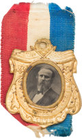 "Political:Ferrotypes / Photo Badges (pre-1896), Rutherford B. Hayes: Minty ""Our Centennial President"" FerrotypeBadge...."