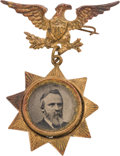 Political:Ferrotypes / Photo Badges (pre-1896), Rutherford B. Hayes: Star Ferrotype Badge....