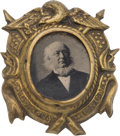Political:Ferrotypes / Photo Badges (pre-1896), Horace Greeley: Rare Ferrotype Badge....