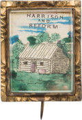 Political:Small Miscellaneous (1896-present), William Henry Harrison: Hand-colored 1840 Log Cabin Brooch....