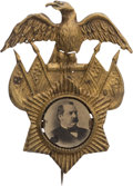 Political:Ferrotypes / Photo Badges (pre-1896), Grover Cleveland: Rare Ferrotype Campaign Badge in Fancy BrassShell Frame....