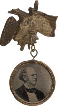 Political:Ferrotypes / Photo Badges (pre-1896), Seymour & Blair: A Most Unusual Double-sided FerrotypeBadge....