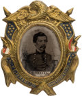 Political:Ferrotypes / Photo Badges (pre-1896), George McClellan: A Fine 1864 Campaign Ferro in Fancy Brass ShellFrame....