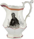 Political:3D & Other Display (pre-1896), William Henry Harrison: Strawberry Lustre Pitcher....
