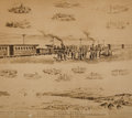 Art, Promontory Point: Large, Period Albumen of Original Watercolor orInk Wash Depicting the Driving of the Golden Spike by Carl D...