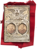 "Political:Ferrotypes / Photo Badges (pre-1896), Harrison & Morton: Cardboard Jugate ""Our Candidates"" MechanicalBadge...."
