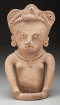 Pre-Columbian:Ceramics, A Large Vera Cruz Seated Female Figure. c. 600 - 900 AD...