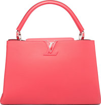 """Louis Vuitton Rose Litchi Pink Leather Capucines MM Bag Pristine Condition 14"""" Width x 9"""" Height"""