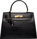 """Luxury Accessories:Bags, Hermes 28cm Shiny Black Crocodile Sellier Kelly Bag with Gold Hardware. Circa 1964. Good Condition. 11"""" Width x 8""""..."""