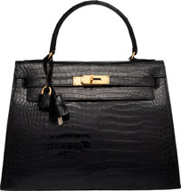 Hermes 28cm Shiny Black Crocodile Sellier Kelly Bag with Gold Hardware Circa 1964 Good Condition<