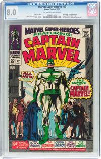 Marvel Super-Heroes #12 Captain Marvel (Marvel, 1967) CGC VF 8.0 Off-white to white pages