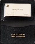 Political:Presidential Relics, John F. Kennedy: His Personal Black Leather Card Case, Along with His Calling Card as a United States Senator....