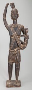 Tribal Art, SOLOMON ISLANDS, Melanesia. Standing Mother with Child Figure...