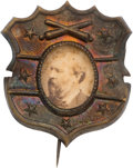 Political:Ferrotypes / Photo Badges (pre-1896), James A. Garfield: Unusual Cardboard Photo Badge....