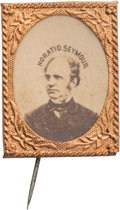 Political:Ferrotypes / Photo Badges (pre-1896), Horatio Seymour: Gem Albumen Stickpin....
