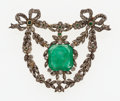 Estate Jewelry:Brooches - Pins, Antique Emerald, Diamond, Silver -Topped Gold Brooch, French. ...