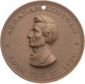 Political:Tokens & Medals, Abraham Lincoln: High Relief Composition or Lave Medal....