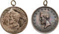 Political:Tokens & Medals, Grant & Colfax: Extremely Rare Pair of Choice Unlisted 1868 Shell Badges.... (Total: 2 Items)