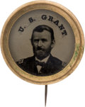 Political:Ferrotypes / Photo Badges (pre-1896), Ulysses S. Grant: Large Ferrotype Stickpin....