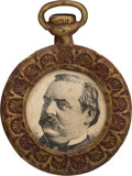"Political:Ferrotypes / Photo Badges (pre-1896), Grover Cleveland: ""Pocket Watch"" Portrait Watch Fob...."