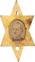 Political:Ferrotypes / Photo Badges (pre-1896), Samuel J. Tilden: A Rare Photo Badge for the Defeated 1876Candidate....